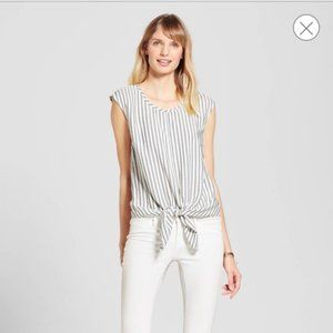 Merona Tie-front Stripe Top Small
